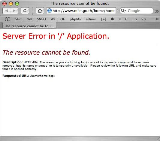 mict, server error in application